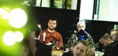 Marc celebrating at 2019 Lamia Xmas party